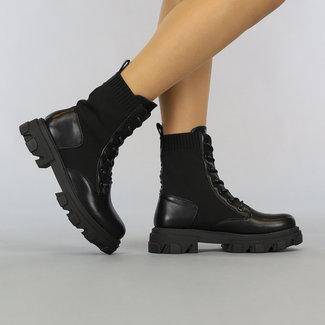 NEW2807 Zwarte Sock Enkellaarsjes met Vetersluiting