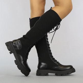 NEW2807 Lange Zwarte Sok Veterlaarzen