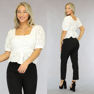 NEW0408 Witte Broderie Top