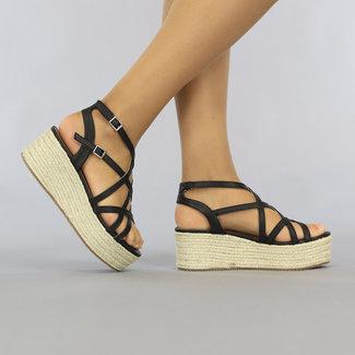 NEW0408 Zwarte Lederlook Crossover Sandaletten