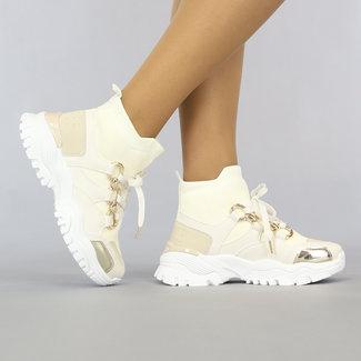 NEW0408 Grove Beige Sock Sneakers met Chain