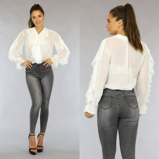 NEW1808 Witte Chiffon Blouse met Ruches