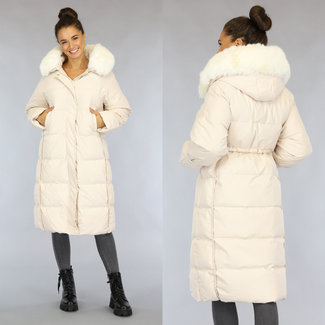 Beige Oversized Gevoerde Lange Winterjas