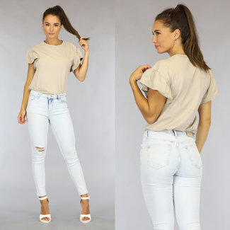 NEW1808 Beige Loose-Fit T-Shirt met Ruches Mouwen