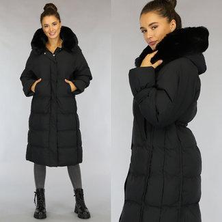 Zwarte Oversized Gevoerde Lange Winterjas