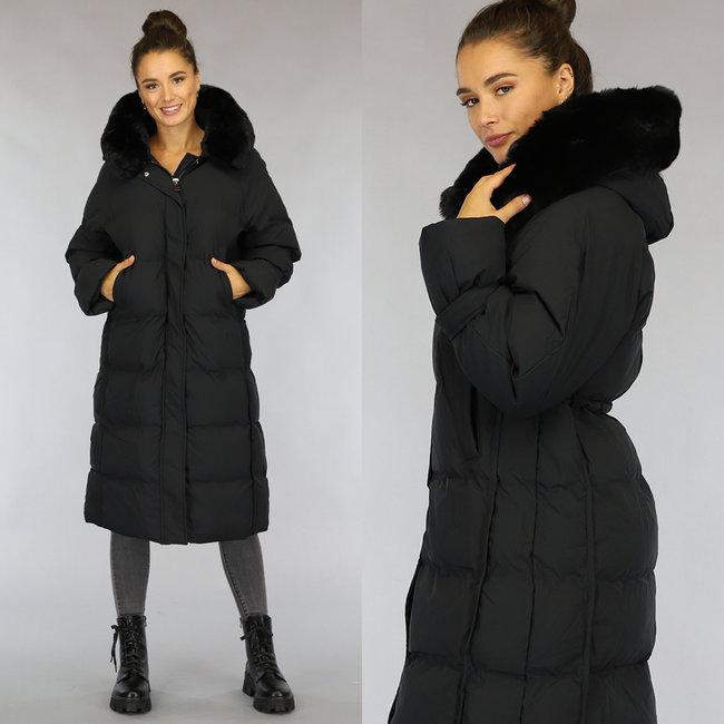 NEW1808 Zwarte Oversized Gevoerde Lange Winterjas