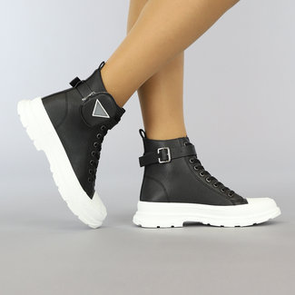 Zwarte Hoge Lederlook Sneakers met Tasje
