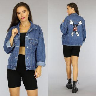 Oversized Blauw Jeans Jacket met Pailletten Rug