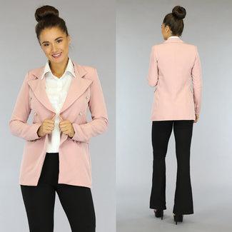 Halflange Roze Blazer met Goudkleurige Knopen