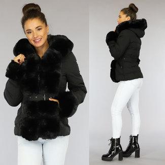 Korte Zwarte Gewatteerde Winterjas met Bont