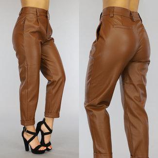 NEW0109 Camel Lederlook Straight Leg Broek