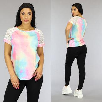 NEW0109 Tie Dye T-Shirt met Gehaakte Mouwtjes