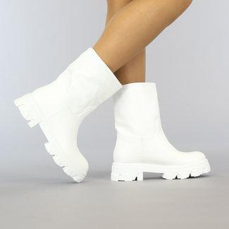 NEW0109 Witte Lederlook Boots