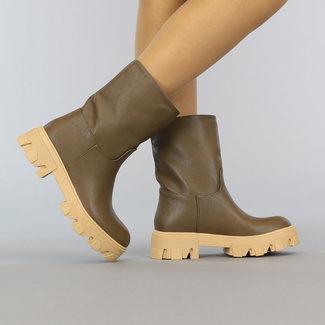 NEW0109 Bruine Lederlook Boots met Beige Zool