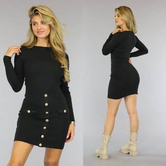 NEW0809 Zwart Sweater Jurkje met Knopen