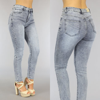 NEW0809 Grijsblauwe Acid High Waist Relaxed Fit Jeans