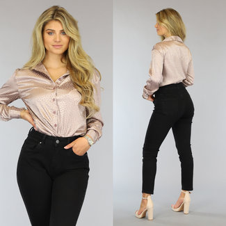 Loose-Fit Satin Luipaard Blouse Taupe