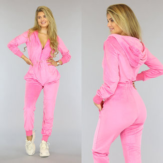 Roze Velvet Jumpsuit met Capuchon