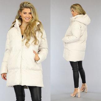 Beige Gewatteerde Oversized Winterjas