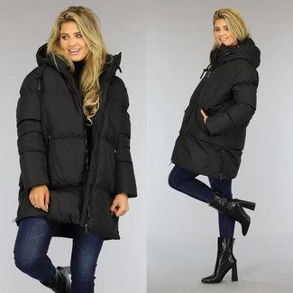 NEW0809 Zwart Gewatteerde Oversized Winterjas