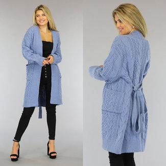 NEW0809 Blauw Gebreid Cardigan Vest met Tailleband