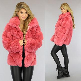NEW1509 Fluffy Roze Faux Fur Jas