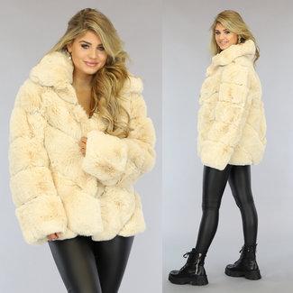 NEW1509 Fluffy Beige Faux Fur Jas