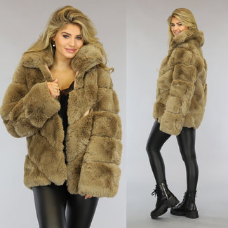 NEW1509 Fluffy Camel Faux Fur Jas