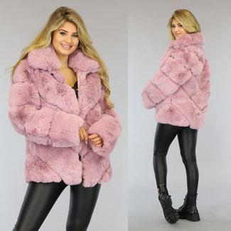 NEW1509 Fluffy Oudroze Faux Fur Jas
