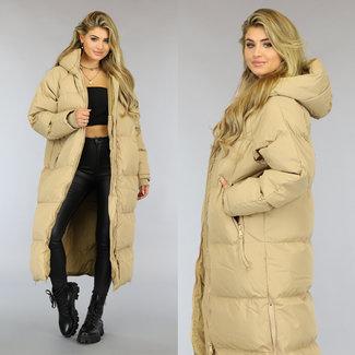 NEW1509 Camel Gewatteerde Lange Oversized Winterjas