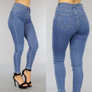 NEW2209 Blauwe High Waist Jeans met Knoopsluiting