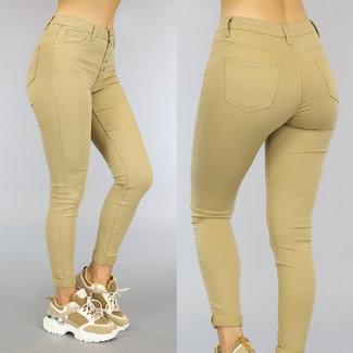 NEW2209 Camel High Waist Jeans met Knoopsluiting