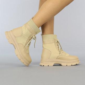 NEW2209 Beige Sock Boots met Vetersluiting