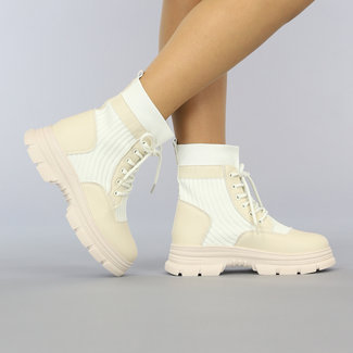 NEW2209 Ecru Sock Boots met Vetersluiting