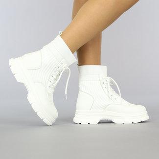 NEW2209 Witte Sock Boots met Vetersluiting