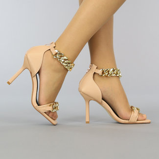 NEW2209 Beige Stiletto Sandaletten met Peeptoe en Chain