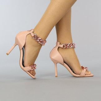 NEW2209 Roze Stiletto Sandaletten met Peeptoe en Chain