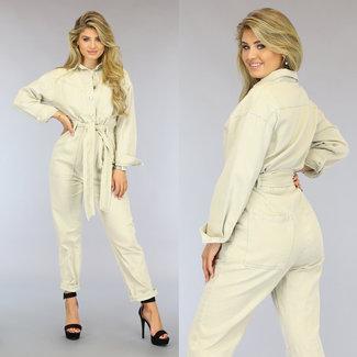 NEW2209 Beige Loose-Fit Jeans Jumpsuit met Knopen