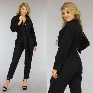 NEW2209 Zwarte Loose-Fit Jeans Jumpsuit met Knopen