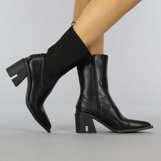 NEW2209 Puntige Zwarte Lederlook Laarsjes