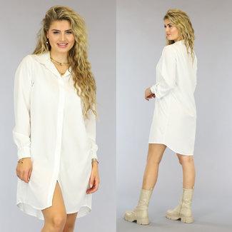 NEW2909 Basic Witte Blousejurk