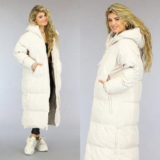 NEW2909 Beige Gewatteerde Lange Oversized Winterjas