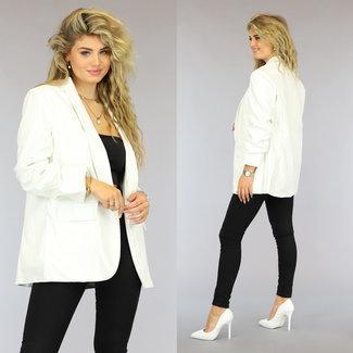 NEW2909 Witte Lederlook Blazer met Geplooide Mouwen