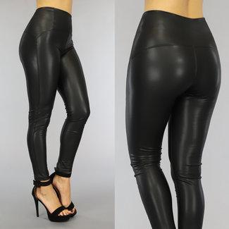 NEW2909 Basic Zwarte High Waist Lederlook Legging