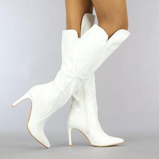 NEW0610 Witte Kroko Laarzen met Stiletto Hak