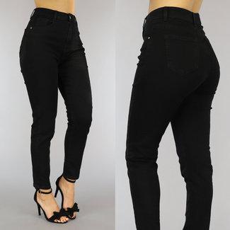 NEW0610 High Waist Relaxed Fit Jeans Zwart