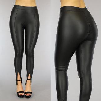 NEW0610 Zwarte Lederlook Legging met Splitjes
