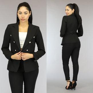 NEW1310 Zwarte Button Blazer