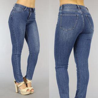 NEW2010 Basic Blauwe High Waist Stretch Jeans