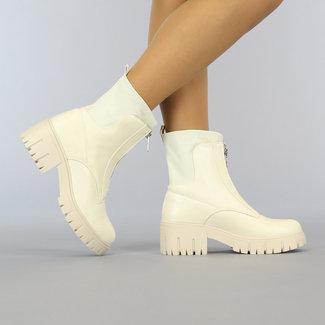NEW2010 Beige Boots met Ritssluiting